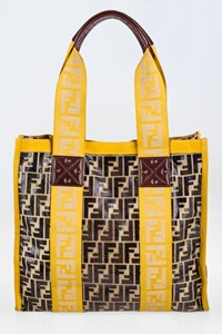 Fendi Zucca Print Leather Shopper Tote Bag