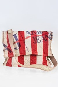 Armani jeans Beige-Red Striped Messenger Bag