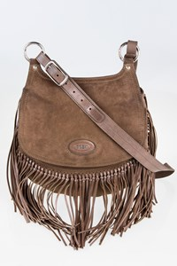 Tod's Taupe - Brown Suede Shoulder Bag with Fringes