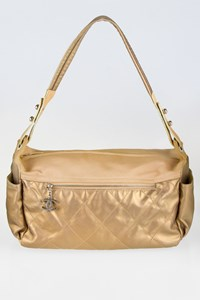Chanel Paris Biarritz Beige-Gold Quilted Leather Shoulder Bag