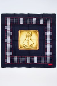 Burberry Blue Silk Scarf with Check Print