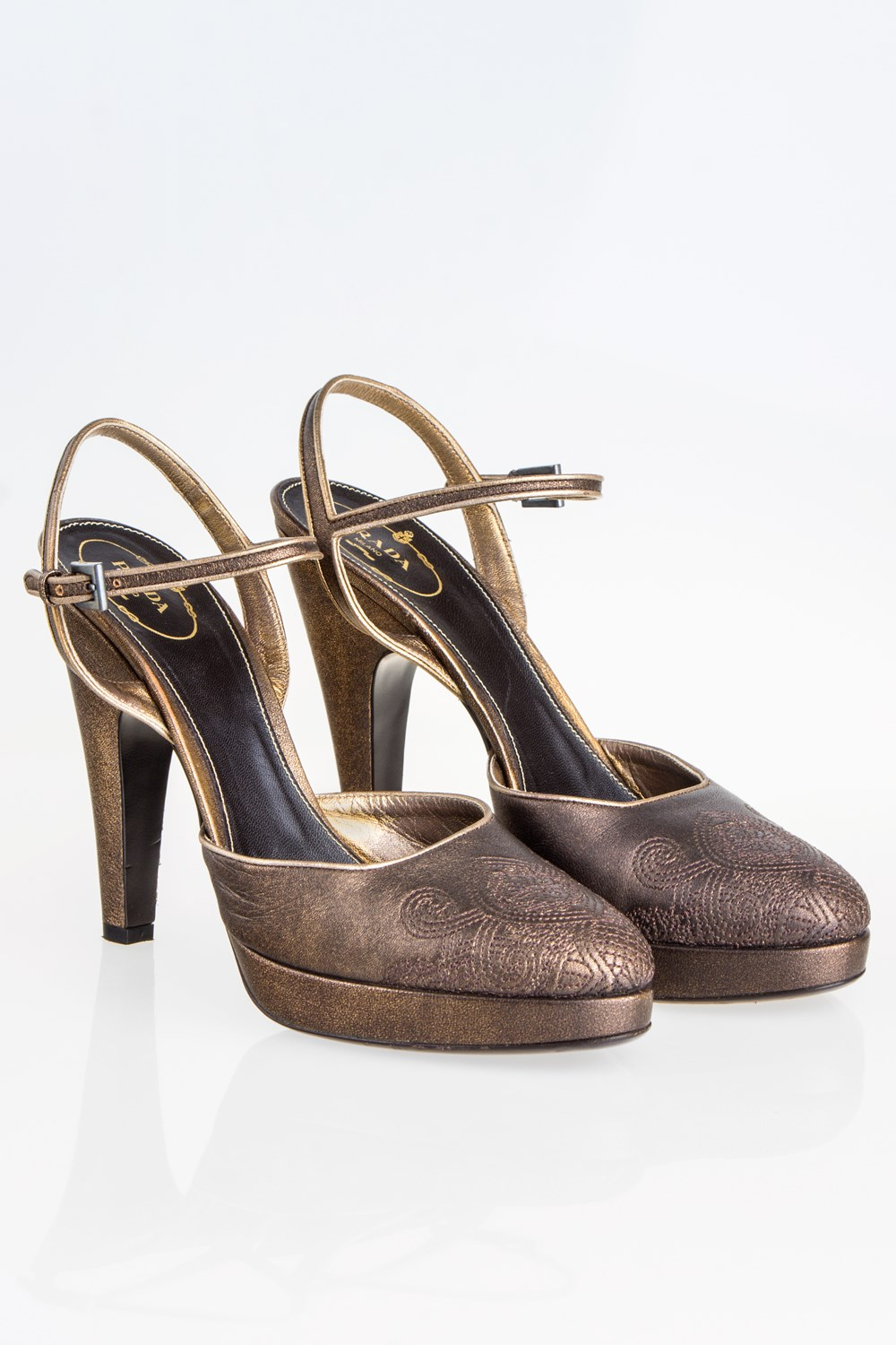01c254c9c47 Prada Bronze Embroidered Leather Pumps   Size  41 - Fit  True to size ...
