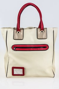 Bottega Veneta Ecru Tote Bag with Red and Bronze Details