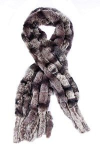 No Brand Rabbit Fur Stole in Grey Shades