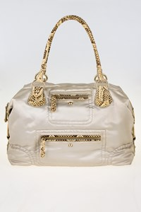 Tod's Pashmy Media Pearlescent Satin Nylon Bag with Python Details