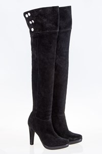 DVF Jordan Black Over-the-Knee Boots / Size: 8W (38.5) - Fit: 39