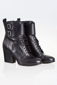The Kooples Black Lace Up Leather Ankle Boots / Size: 39 - Fit: 38.5