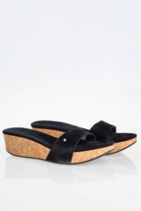 Ugg Black Suede Mules with Cork Wedge / Size: 40 - Fit: True to size