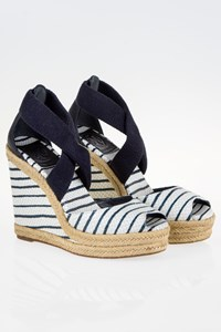 Tory Burch Natanya Striped Wedge Sandals / Size: 36 (6M) - Fit: True to Size
