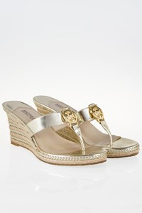 MICHAEL Michael Kors Palm Beach Gold-Tone Wedge Sandals / Size: 39.5 (9.5M) - Fit: True to Size