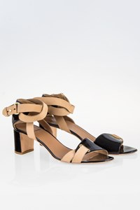 Pierre Hardy Black Patent Leather Sandals with Beige Leather Straps / Size: 38.5 - Fit: True to size