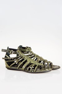 Sergio Rossi Green Snakeskin Leather Sandals / Size: 38.5 - Fit: True to size