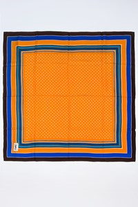 YSL Multicoloured Printed Scarf in Orange, Brown and Electric Blue