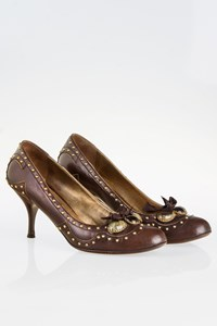 Miu Miu Brown Leather Pumps with Studs and Stones / Size: 38.5 - Fit: 39