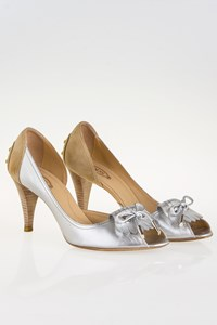 Tod's Silver-Beige Peep-Toe Pumps / Size: 39 - Fit: True to size