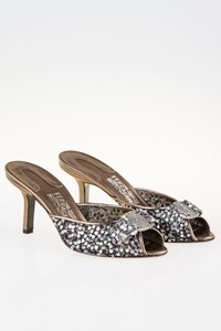Salvatore Ferragamo Silver Metallic Mules with Paillettes / Size: 9C (39) - Fit: True to size