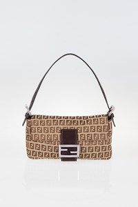 Fendi Brown-Beige Zucchino Canvas Baguette Bag