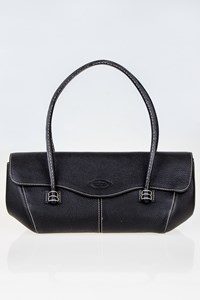 Tod's Corniche Wave East/West Black Leather Tote Bag