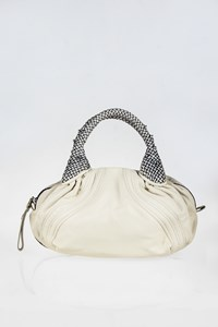 Fendi Baby Spy White Leather Tote Bag