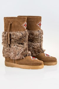 Minnetonka Mukluk High Tan Suede Boots with Fur / Size: 39(8) - Fit: 38