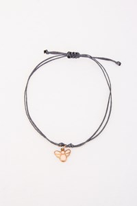 Very Gavello Bee Rose Gold Pendant with Grey Cord Bracelet