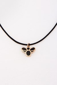 Very Gavello Bee Rose Gold Pendant with Black Cord Necklace