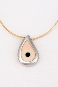 Gavello Amadomio White Gold Pendant with Beige Cord Necklace