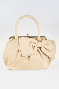 R.E.D. Valentino Ecru Leather Tote Bag with Bow