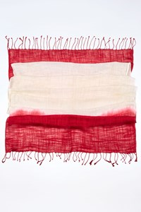 DKNY C Ecru-Raspberry Ombre Voile Scarf