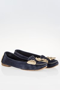 Chanel Navy Blue Loafers with Golden Details / Size: 40 - Fit: 41