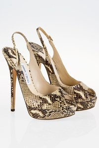 Jimmy Choo Vita Snakeskin Platform Slingbacks / Size: 38.5 - Fit: True to Size