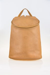 Longchamp Veau Foulonne Beige Zip Top Backpack