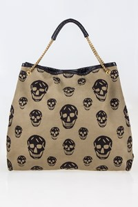 Alexander McQueen Skull-Print Canvas Shoulder Bag