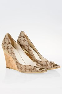 Gucci GG Canvas Peep-Toe Wedges / Size: 40.5 (10½ B) - Fit: 41