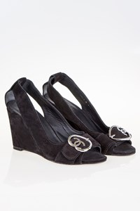 Chanel Black Suede Wedges / Size: 41 - Fit: True to size