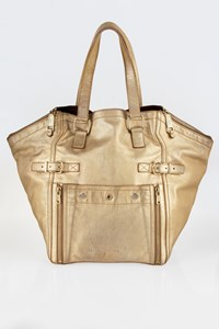Yves Saint Laurent Downtown Metallic Gold Leather Large Tote Bag