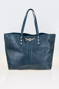 Zadig & Voltaire Mick Petrol Blue Leather Tote Bag