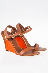 Ralph Lauren Collection Tan Leather Sandals with Orange Wedges / Size: 41 (11B) - Fit: True to size