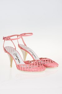 Chanel Pale Pink Woven Sandals with CC Logo / Size: 40 - Fit: 40.5