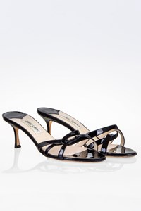Jimmy Choo Black Patent Leather Strappy Mules / Size: 41½ - Fit: True to size