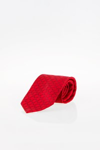 Céline Red Silk Tie with Blue Print
