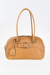 Prada Tan Leather Tote Mini Bag with Buckle