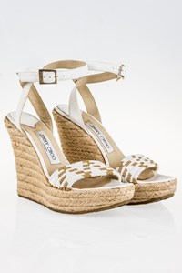 Jimmy Choo Bombay White Espadrilles with Cord and Leather / Size: 38 - Fit: 38.5
