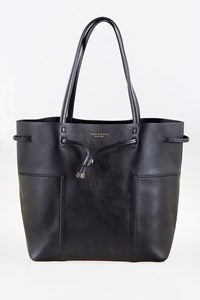 Tory Burch Block-T Black Leather Bucket Tote Bag