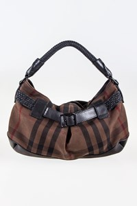 Burberry Brown Check Print and Leather Shoulder Bag