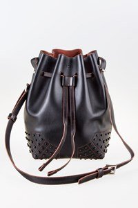 Tod's Drawstring Black Leather Bucket Shoulder Bag