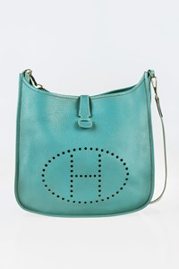 Hermès Blue Jean Clemence Evelyne II GM Cross-Body Bag
