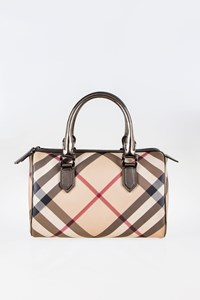 Burberry Nova Check Coated Canvas Silver Metallic Tote Bag