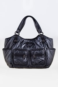 Hogan Anthracite Nylon Tote Bag with Leather Details