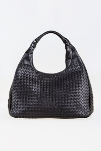 Bottega Veneta Nero Intrecciato Campana Large Shoulder Bag